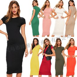 Wholesale yellow dress code for sale – plus size 7632 Color Code Round Neck Short Sleeve All Cotton Joker Long Dress