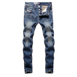 dsel jeans NZ - 2019 High Quality Dsel Brand Men Men's Men's Clothing Fashion Designer Distressed Ripped Jeans Men Straight Fit Jeans Home100 Cotton9003C