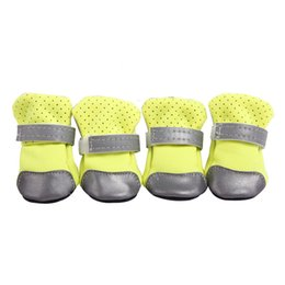 Pet Straps Australia - 1Pair Pets Shoes Boots Dog Water Resistant Shoes Reflective Fastening Straps Pet Shoes Boots 7 Colors 5 Sizes