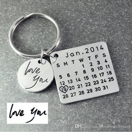 $enCountryForm.capitalKeyWord NZ - designer keychains Calendar Keychain,Signature calendar key chain Hand Stamped Calendar, Date highlighted with heart CZ