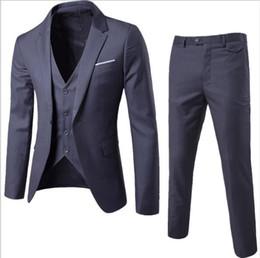 Men S Long Wedding Suit Australia - 2019 High Quality Business Leisure Suits 3 Sets Bridegroom's Best Man Wedding One Button Buckle Suitmen's Dress Suits Size S-6XL