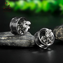 $enCountryForm.capitalKeyWord Australia - Kubooz Screw Ear Gauges Stretcher Piercing Ring Tunnels Expander Plugs Stainless Steel Dinosaur Earrings Fashion Body Jewelry T190629
