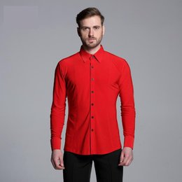 Discount modern men shirts - Men Solid Colour Shirts Long Sleeved Adult Latin Dance Top Competition Performance Ballroom Modern Salsa Tango Samba lat