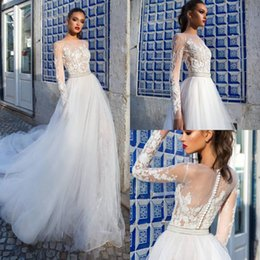 $enCountryForm.capitalKeyWord NZ - Modest Wedding Dresses With Long Sleeve Applique Beads Sash Country Wedding Dress Illusion Beach Style Plus Size Bridal Gown