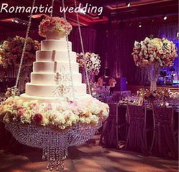 crystal wedding cake stands 2019 - Luxury Crystal Hanging Cake Rack Wedding Cake Stand Transparent Crystal Beads Acrylic flower stand wedding Table Centerp