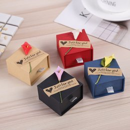 Earring Boxes Sale NZ - Hot sale kraft paper jewelry box ring earrings jewelry box 5.2*5.2*3.5cm specification box eight styles to choose from WCW194