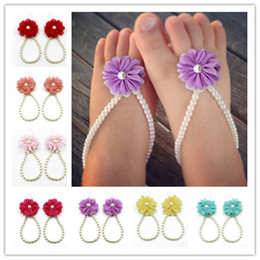 pearl flower girl shoes UK - White Pearls infant toddler barefoot sandals baby jewelry stunning for christening's and flower girls Baby accessories baby shoes K82
