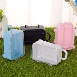$enCountryForm.capitalKeyWord NZ - Acrylic Clear Mini Rolling Travel Suitcase Candy Box Baby Shower Wedding Favors Party Table Decoration Supplies Gifts free shipping