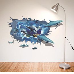 $enCountryForm.capitalKeyWord Australia - 3D Underwater And Dolphin Art Mural Wallpaper Creative wall stickers For Kid's Room and Nursery Decoration Removable