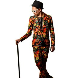 custom graffiti 2019 - Male Flower Graffiti Fashion Casual Suit Custom Stage Clothing Men Slim Fit Blazers Jacket Dancer Singer DJ Costumes che