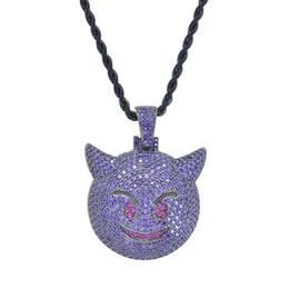 Fox Face Pendant Australia - Brass CZ Evil Emoji Pendant≠cklace gold color silver color purple fox face Necklace Hip hop Jewelry CN047