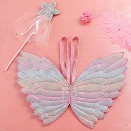 Wings Children Set Australia - Cute children performance costume props colorful butterfly princess fairy stick and angel wings two-piece set