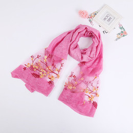 shawl embroidered scarf UK - New national style Europe and the United States embroidered silk fashion sunshade scarf for summer 2018 hangzhou long shawl