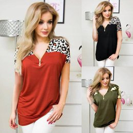 women leopard print caps wholesale Canada - Leopard Printing Shirt Women Zipper Patchwork Blouses Summer Short Sleeve Tops Fashion Loose Casual Tees Women's Clothing YFA1208Q
