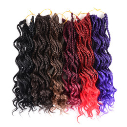 hair braid styles NZ - Hot! New Style 1Packs 18inches Curly 3X Box Braids Crochet Hair Extensions Ombre Kanekalon Fiber Synthetic Hair Extensions for Women