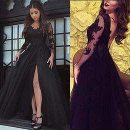 1924f1b441 Black Split Prom Dresses 2019 V-Neck Low-Back Long Sleeve Evening Gowns  Sheer Lace Cocktail Party Ball Red Carpet Dress Formal Gown