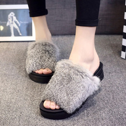 Discount lazy man leather shoes - Furry open toe flats slippers girls fluffy fur thick bottom comfort shoes woman lazy slip on footwear 6 colors fur flat