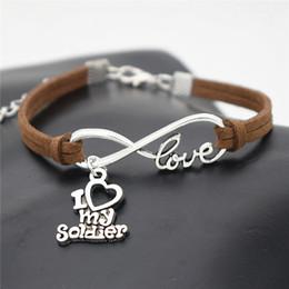 $enCountryForm.capitalKeyWord Australia - Fashion Men Women Jewelry Dark Brown Braided Leather Suede Rope Bracelet Silver Color Infinity Love I Heart My Soldier Pendant Charm Bangles