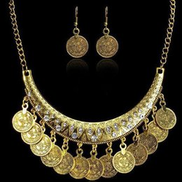 Coins Sets Australia - Vintage Antique Coin Statement Choker Chain Hoop Earrings Necklace Set Jewelry new