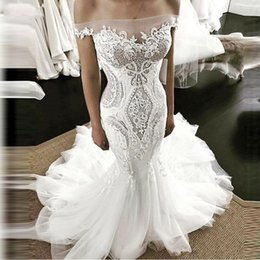 Appliques Style Wedding Dresses NZ - Country Style Mermaid Wedding Dresses Off The Shoulder 3D Lace Appliques Cheap Bridal Dress Sweep Train Zipper Spring Summer Wedding Gowns
