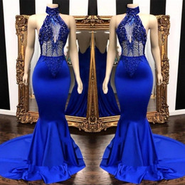 TrumpeTs for online shopping - Sexy Royal Blue Prom Dresses Keyhole Neck Appliques Beads Long Backless Cascading Ruffles Mermaid Evening Dress Party Gowns For Women