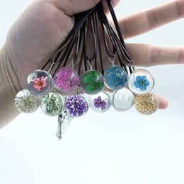 Wholesale Pure hand made dried flower clover necklace plant flower mm glass ball pendant clavicle chain immortal flower sen necklace for women