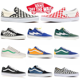 Running shoes skateboaRd online shopping - cheap classic van off the wall old skool canvas sneakers fear of god black white red YACHT CLUB blue mens womens Skateboard shoes