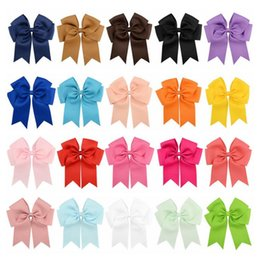 candy girl hair 2019 - Bow hair clip Candy color Large Bow hair pin Baby Girl Solid Ribbon Bows hairband Cheerleaders Girls bowknot Barrettes C