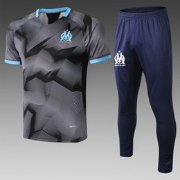 Soccer Training Shirts Australia - 2020 Olympic de Marseille Soccer jersey training suit short sleeve Polo shirts long Pants 19 20 OM Training Suit Football tracksuit Kits