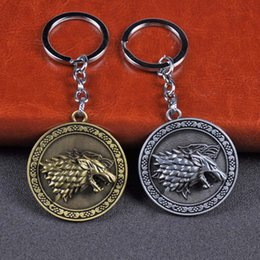 Woman Fans Australia - Game of Thrones Keychain Rotatable Wolf head Badge Key Chains House Stark of Winterfell Pendant Women And Men Fans Gift keyring