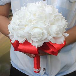 Bridal Bouquet riBBons online shopping - Cheap PE Rose Bridesmaid Wedding Foam flowers Rose Bridal bouquet Ribbon Fake Wedding bouquet de noiva Customized