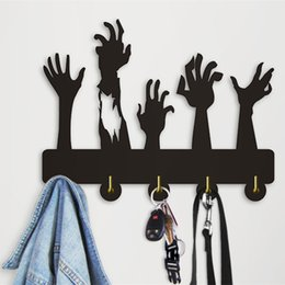 Hand Hooked Bag Australia - 1Piece Zombies Hands Design Home Bathroom JKitchen Coat Hat Bag Wall Hanger 5Hooks Black wood Decorative Hook Wall Art Decor