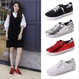 Silver Black Red Australia - Women Flat Shoes Students Casual Spring Autumn Lace Up Round Toe Red Black White Silver Free Shipping