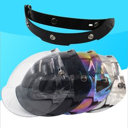 $enCountryForm.capitalKeyWord NZ - mirror 3-snaps vintage retro jet motorcycle helmet bubble shield visor shield glass lens open face helmet glasses