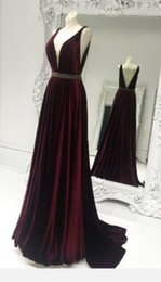 deep burgundy evening dresses Australia - Sexy Burgundy V-Neck Prom Dresses A-Line Deep V Backless Sequins Sash Party Gowns Evening Formal Dress New Long
