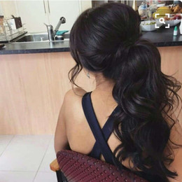 Drawstring ponytail hair extensions online shopping - Long Drawstring Ponytail Extension Human Hair quot Kinky Body Wave Bun Ponytail Clip on Hair Extensions Ponytail for Women Color