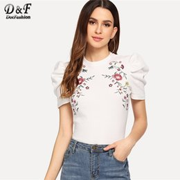 $enCountryForm.capitalKeyWord NZ - Dotfashion White Embroidered Puff Sleeve Mock Tee Women 2019 Clothes Tops Casual Summer Short Sleeve Fashion Slim Fit T-shirtY19042002