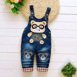 Denim Style For Babies Australia - good quality 2019 baby boys overalls cartoon spring jumpsuits for infant boys new denim trousers for toddler boys pants jeans