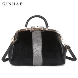 black elegant hair UK - Fashion Faux Fur Women Bag Famous Brand Large Capacity Top Handle Bag Shoulder Bags Elegant Ladies Horse Hair Leather Handbags J190712