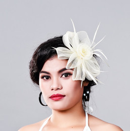 Wedding hair nets online shopping - Elegant Women Fancy Feather Fascinator Hat beige Wedding party Hats and millinery White Net Hair Accessories for Bridal ladies