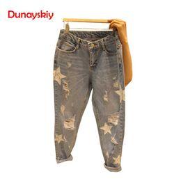 Jeans star pant new online shopping - 2019 New Korean Holes Printed Stars Denim Jeans Women Autumn Mid Waist Femme Trousers Zipper Fly Full Length Female Pencil Pants
