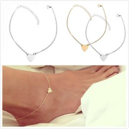 Women's fashion feet accessories, personalized jewelry, diamond jewelry, simple and simple sexy heart-shaped love heart anklet, on Sale