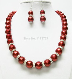 "$enCountryForm.capitalKeyWord Australia - Women Gift word Love women Fashion Jewelry Lovely10mm Red Sea Shell Pearl Necklace Earring Set 18"" beads jewelry"