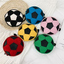 Canvas storage kids online shopping - Football crossbody bags Contrast color kids girls canvas soccerball purses coin bag storage outdoor tarvel shoulder bags phone pouch FFA2136
