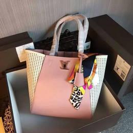 $enCountryForm.capitalKeyWord NZ - 2019 M42292 New Scarf Real Calfskin Pink Fashion Shoulder Bags Shopping Bag Hobo Handbags Top Handles Boston Cross Body Messenger Shoulder