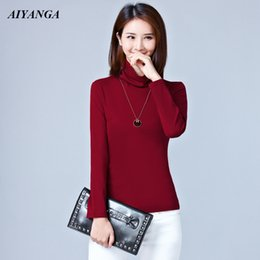 Long Sleeve Tees For Women Australia - Cotton T-Shirts Womens 2019 Spring Autumn Turtleneck T-Shirts and Pullovers Tees Long Sleeve Plus Size T Shirt For Women