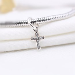 Sterling Silver Cross Charms Wholesale Australia - Big Hook Cross Dangle With CZ Charm Bead 100% 925 Sterling Silver European Fashion Style Women Jewelry For DIY Bracelet Bangle