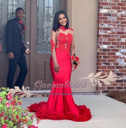 $enCountryForm.capitalKeyWord Australia - African Arabic Black Girls Red 2K19 Prom Dresses 2019 with Feather Mermaid Formal Dress Evening Party Wear Backless Halter Vintage Lace