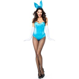Rabbit Woman Costumes UK - Black Blue Sexy Bunny Girl Stage Costume Tight fitting Rabbit Role playing Suit Nightclub Cospaly Carnival Costume