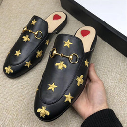 Leather cLosed toe sandaLs online shopping - Classic Designer Metal Buckled Slippers Soft Cowhide Loafer Luxury Leather Cartoon Half Slippers Fashion Luxury Ladies Sandals Slip On BEE